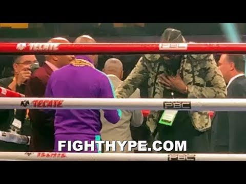DEONTAY WILDER APPROACHES MAYWEATHER IN RING AND SHOWS RESPECT; BURIES HATCHET ON JEALOUSY CLAIM