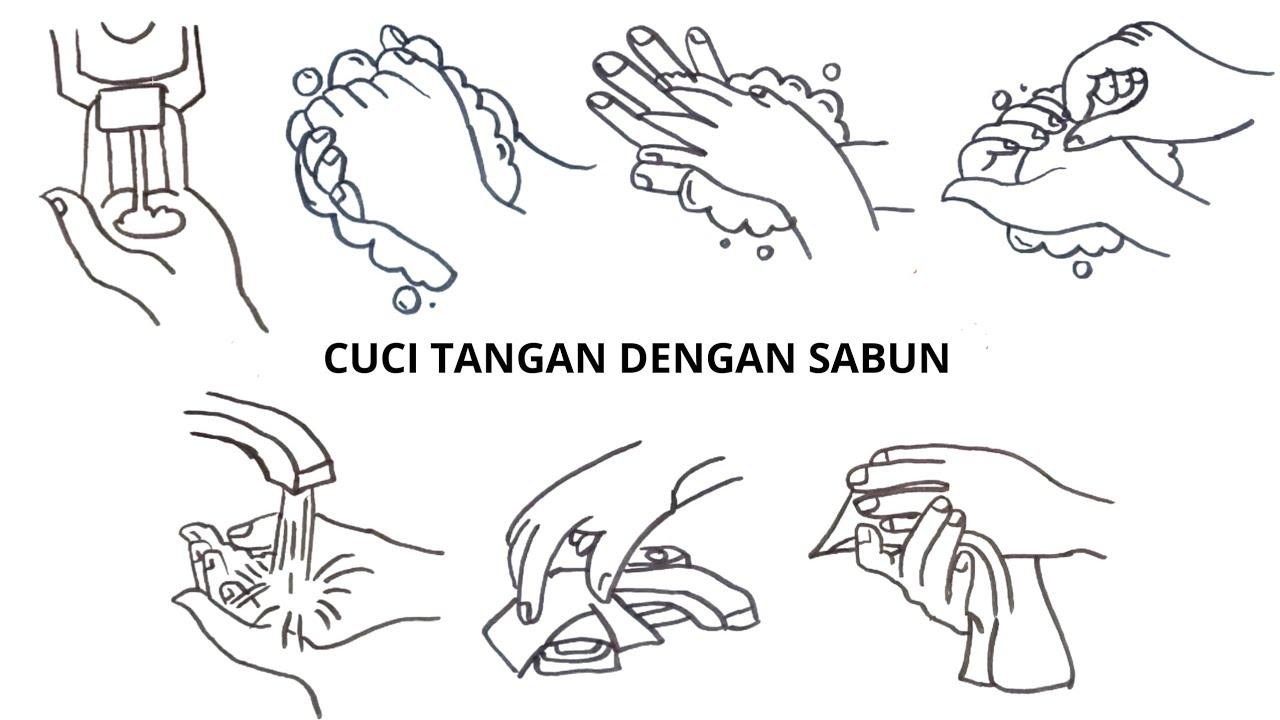 Cara Menggambar Cuci Tangan dengan Sabun / How to Draw Hand Wash ...