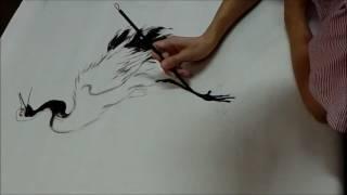 20161029陳永浩YUNG HAO CHEN老師授課 Ink and color PAINTING 畫松鶴 painted white crane & pine