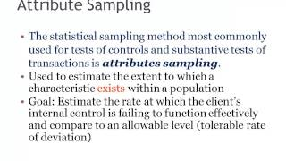 Attribute Sampling In Auditing