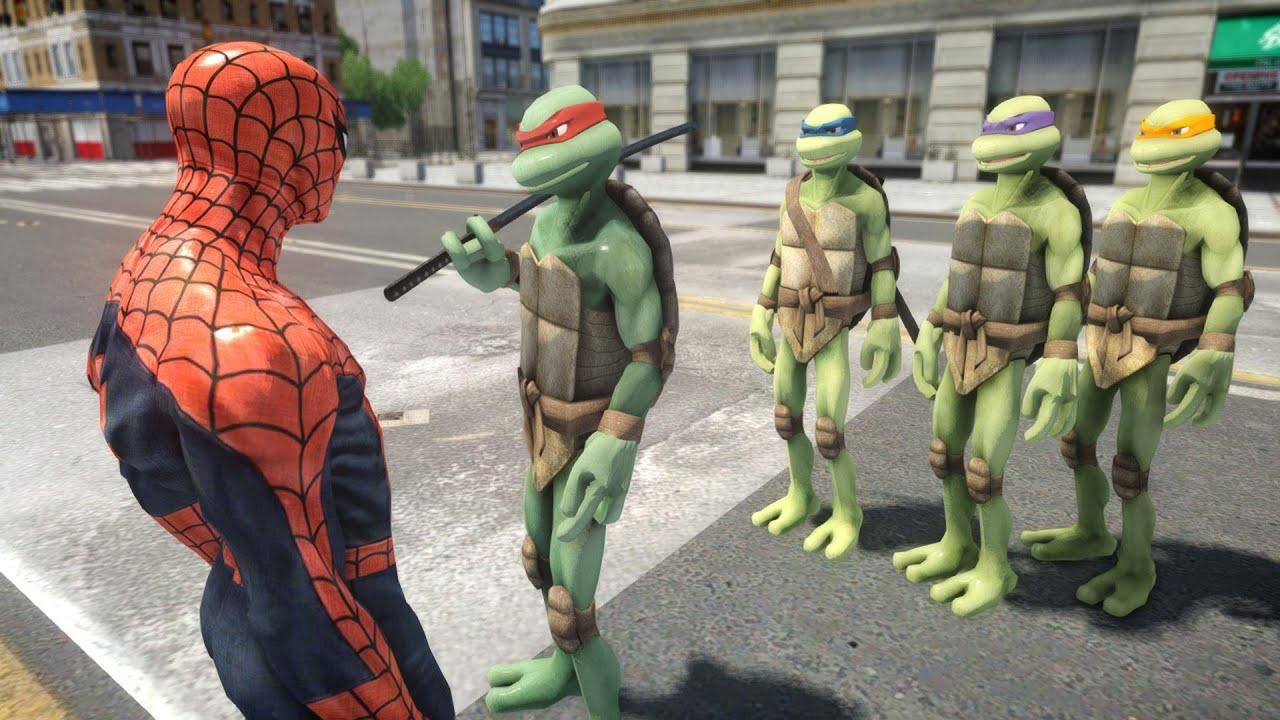 Mutant Teenage Ninja Turtles vs SPIDERMAN  EPIC BATTLE