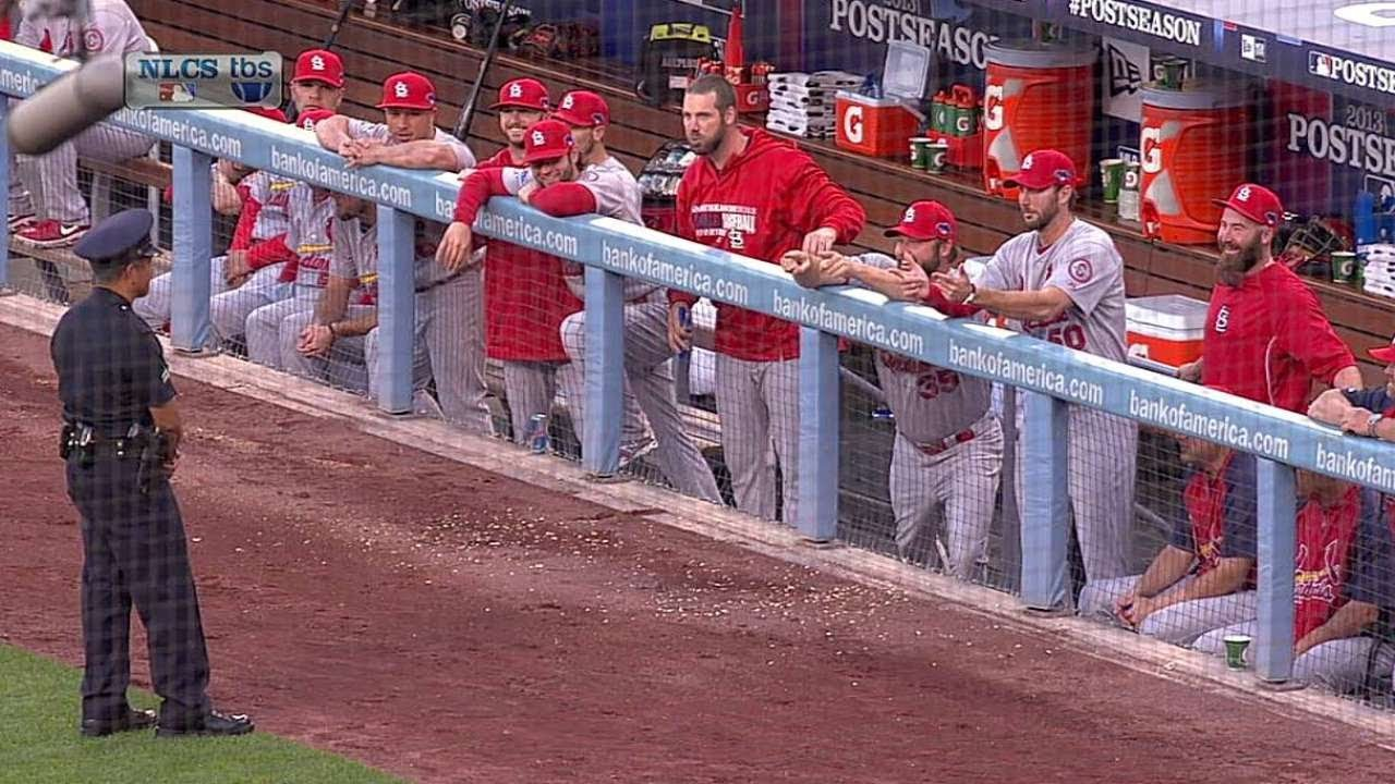 Cardinals Dugout Tries To Make Cop Laugh Youtube