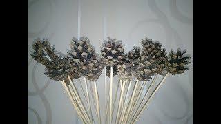 ★ Как сделать цветы своими руками из шишек и палочек. Хендмейд идея подарка для любимой.