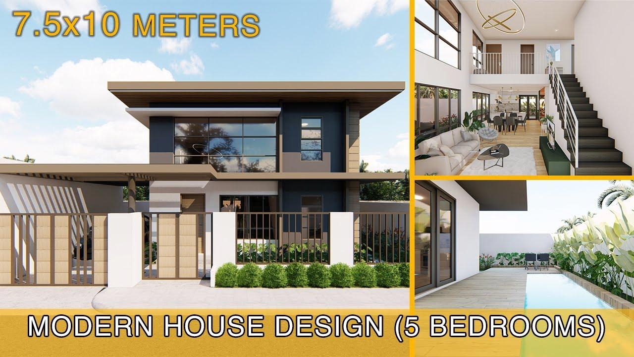Modern House Design Idea (7.5x10 meters)