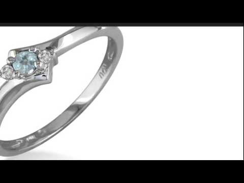 Dainty Bypass Aquamarine and Diamond Ring in 10k White Gold - SuperJeweler.com