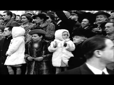 Winston Churchill,De Gaulle and Anthony Eden watch as Armistice Day Parade march ...HD Stock Footage