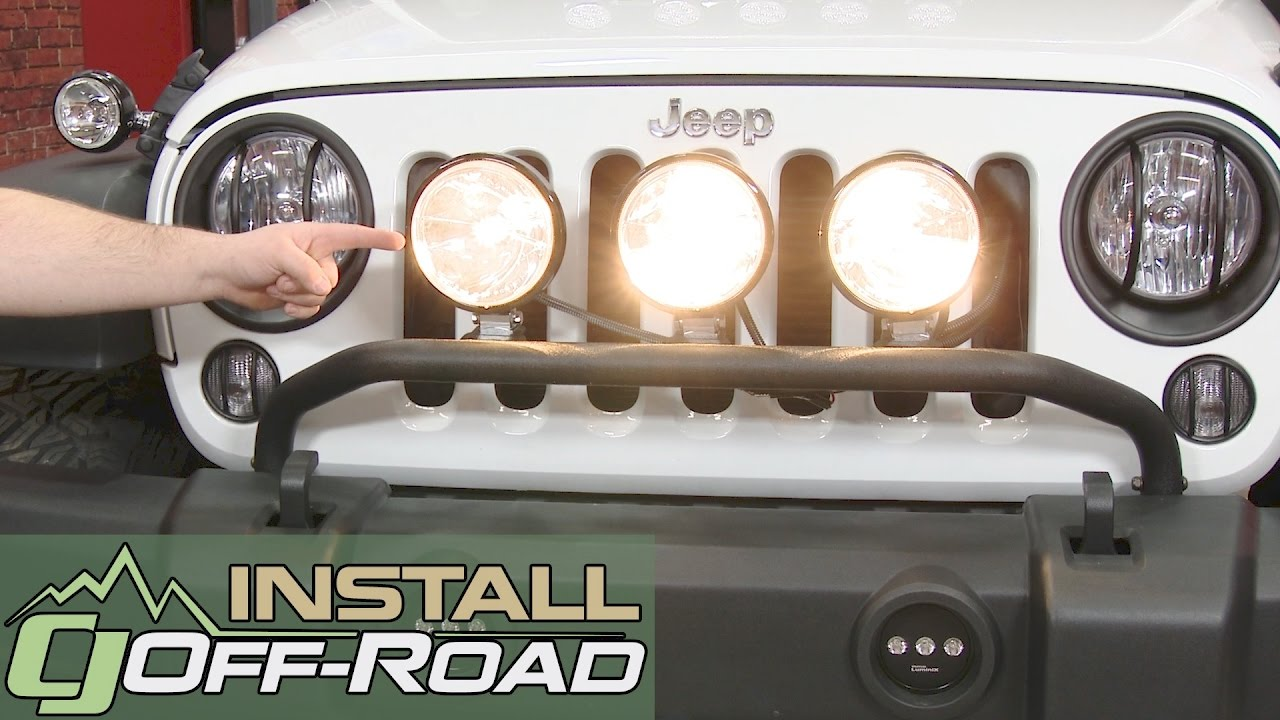 Jeep Wrangler Rugged Ridge Light Bar Per Mounted Blk W Three 3 1 2 Hid Fog 2007 18 Installation