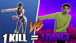1 Kill = 1 Fortnite Dance For My 10 Year Old Little Brother! Fortnite Real Life Challenge!