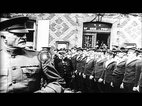 United States Army General John J. Pershing arrives in France, during World War I...HD Stock Footage