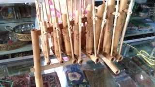 """""""angklung"""" indonesian musical instrument display"""