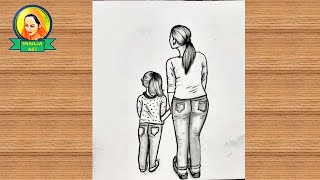 daughter mother easy pencil drawing sketch draw mothers