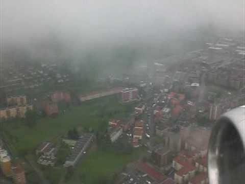 Bad weather landing at Milan's Linate airport
