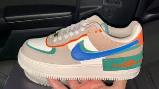 Nike Air Force 1 Shadow First Use Sail Signal Blue Green Sneakers ...