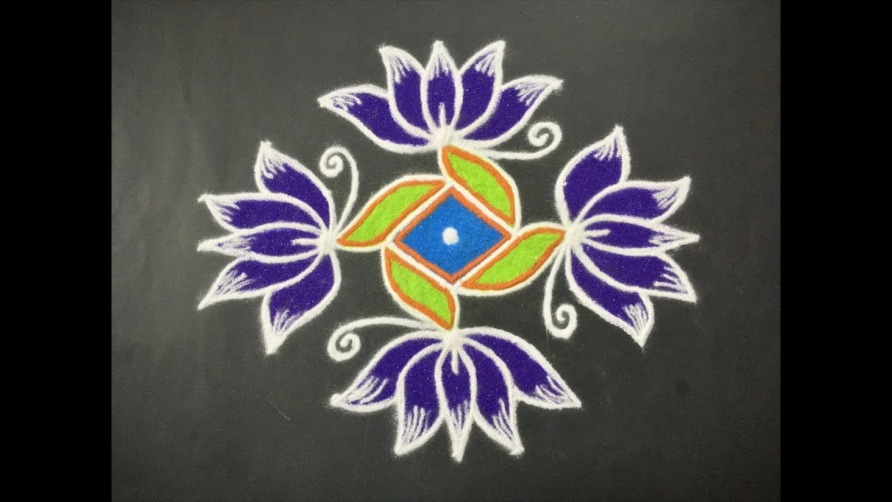 Simple Lotus Flower Rangoli Design With Beautiful Colours Dots