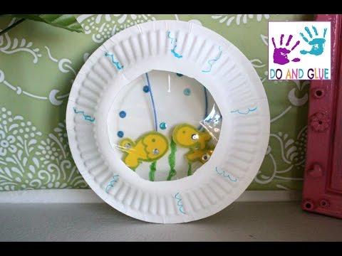 Kid craft  How to Make a Paper Plate Aquarium