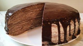 Шоколадный Блинный Торт(Очень Вкусный)/Торт из Блинов/Chocolate Pancake Cake/Пошаговый Рецепт