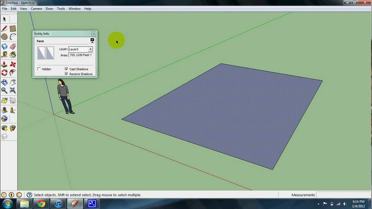 Calculating Square Footage In Sketchup Youtube