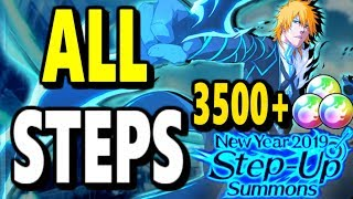 Bleach Brave Souls: New Year 2019 Step-up Summons! ALL Steps!