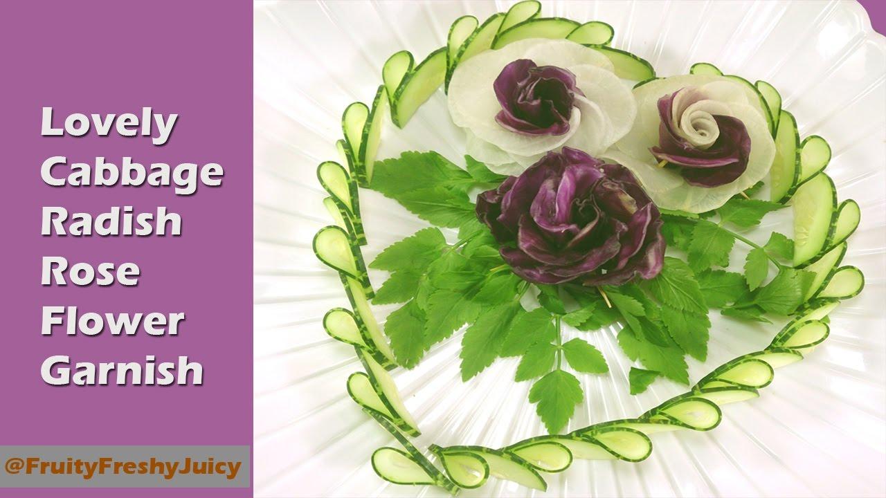 Lovely Cabbage Radish Rose Flower Garnish - Radish & Cabbage Rose Tutorial