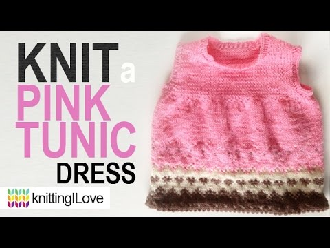 Knit Pink Tunic Dress Pattern From A Book Knitting Finished Object