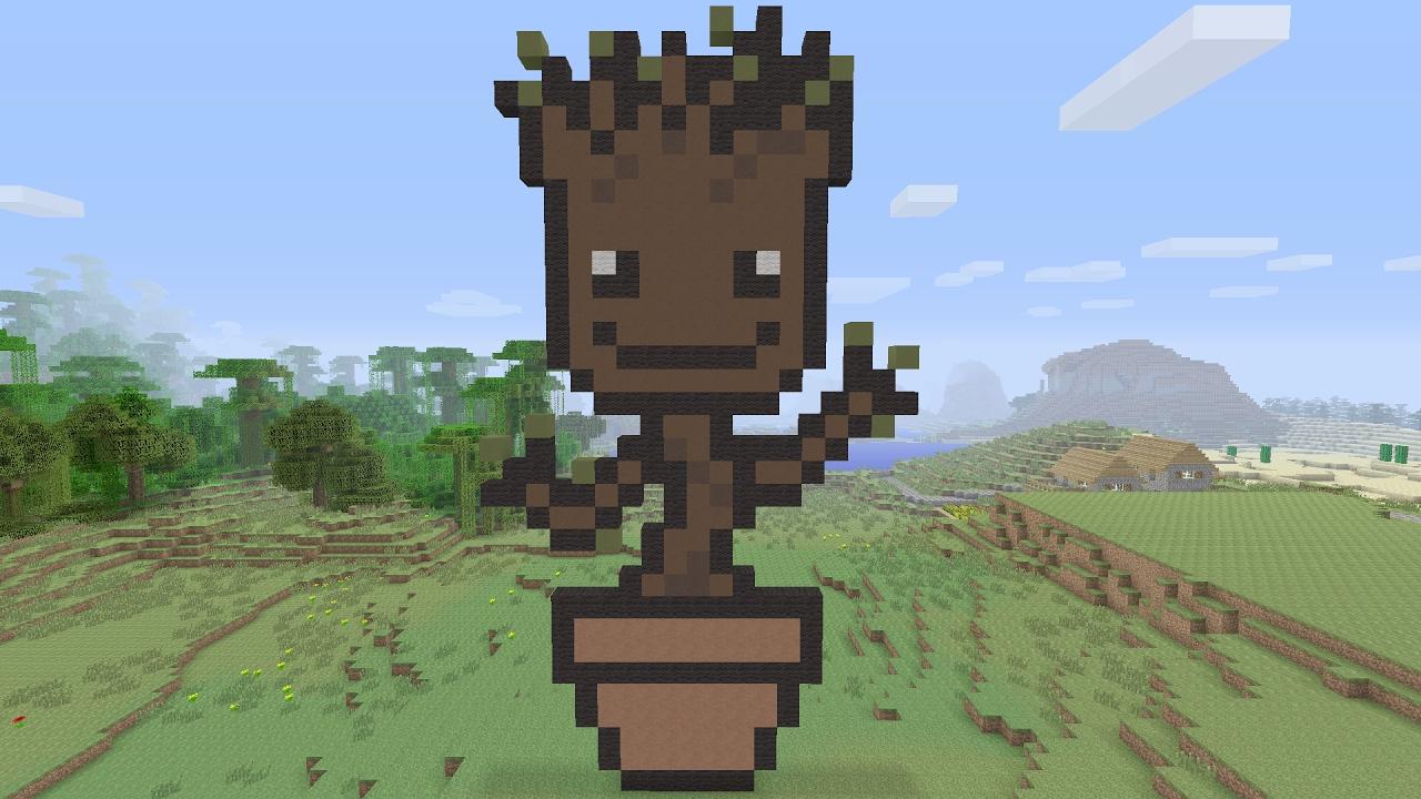 Minecraft Tutorials Baby Groot Pixel Art Guardians Of The Galaxy
