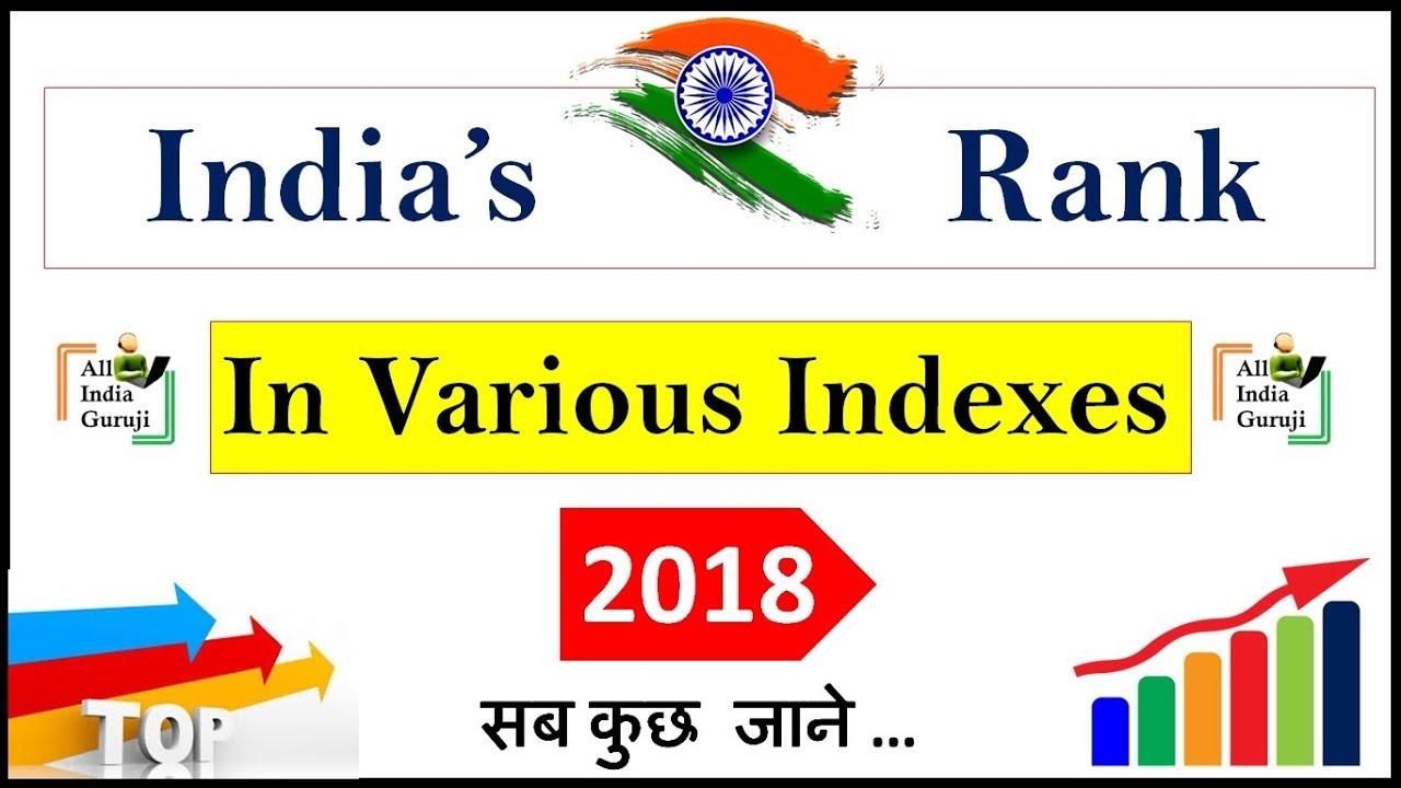 India's Ranking in various index In world 2018 विभिन्न सूचकांकों में भारत की रैंकिंग in hindi