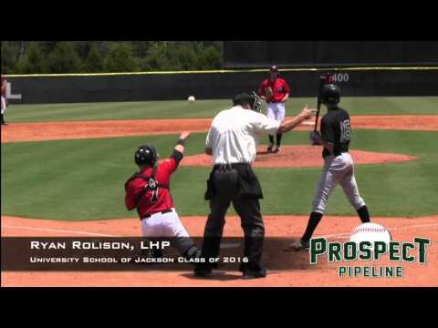 Ryan Rolison Prospect Video, LHP, University School of Jackson Class of 2016, TOS 1