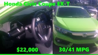 ENERGY GREEN Sports Car 2017 Honda Civic Coupe EX-T FWD 2DR Cost MPG MSRP Review Florida Orlando