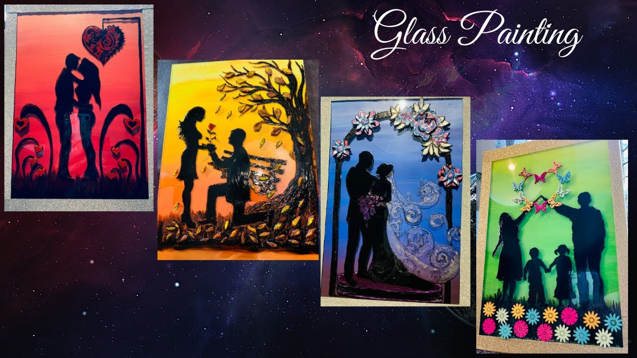 Best 4 Couple Glass Painting Designs Glass Painting For Beginners Framing Glass Painting At Home Youtube