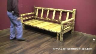 Cedar Lake Easy Glide Log Futon | Rustic Log Sleeper Sofa