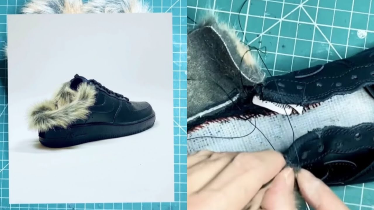 HYACYN Custom 'Mules' Black Fur Forces