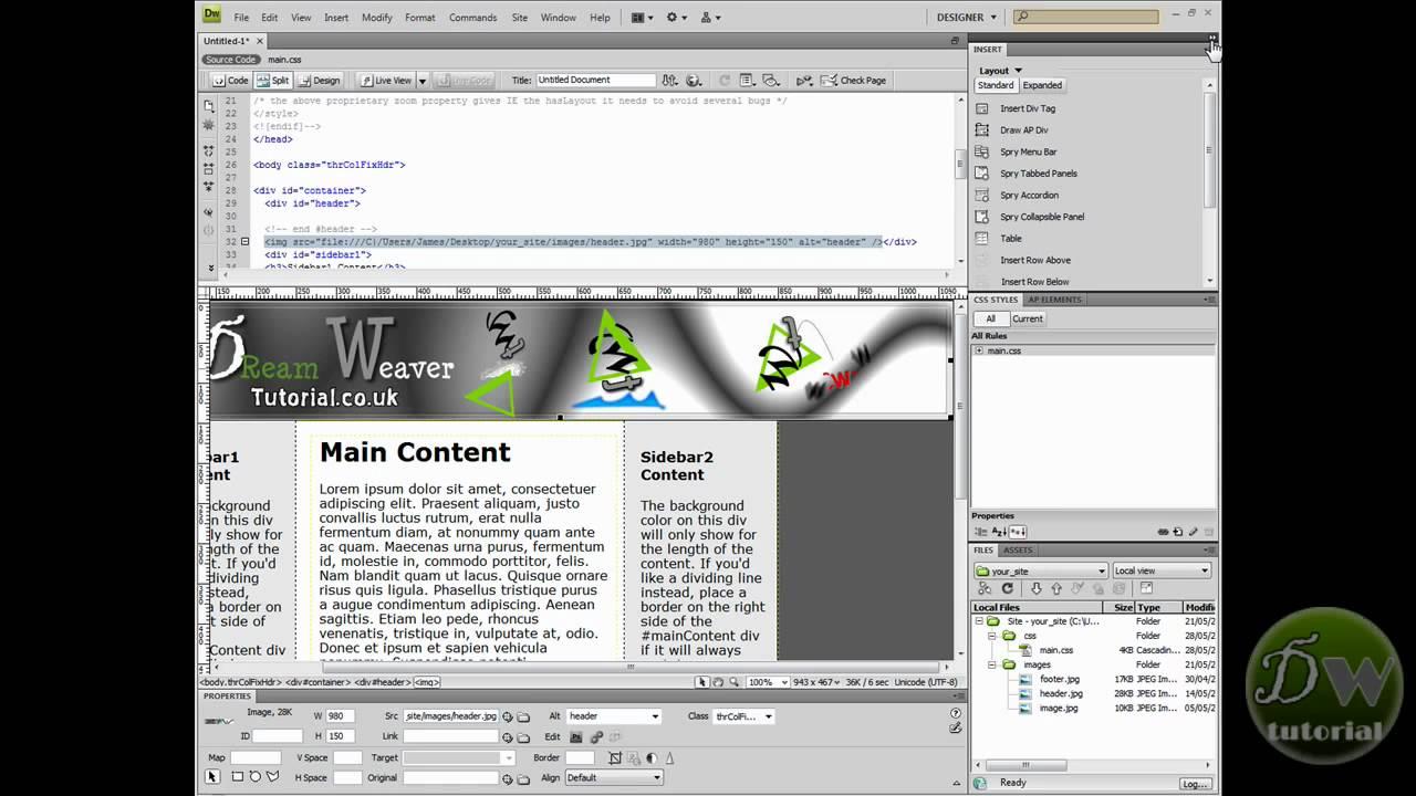 Dreamweaver template tutorial part 3 create template and for Dreamweaver photo gallery template