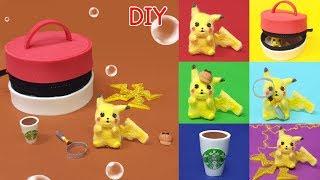 DIY 6 miniature Pokemon Detective Pikachu set !  -  미니어쳐 명탐정 피카츄 세트 만들기!!