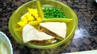 Toddler Meal Idea: Bean And Cheese Quesadilla With Mango And Steamed Peas