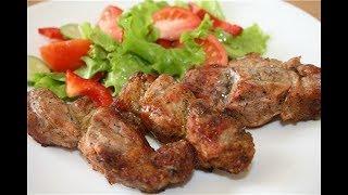 Шашлык на сковородке. Мясо жареное с луком, быстрый ужин/Экономное меню