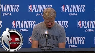 [FULL] Steve Kerr: 'It was strange looking down the sidelines and not seeing Pop'   NBA on ESPN thumbnail