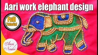 Aari Work Elephant Design | Aari Work For Beginners | Hand Embroidery, Maggam Work