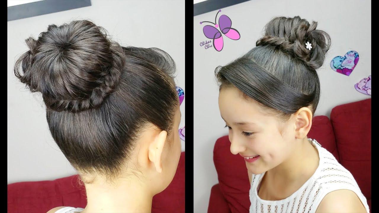 Peinados de chongo con trenza para nina