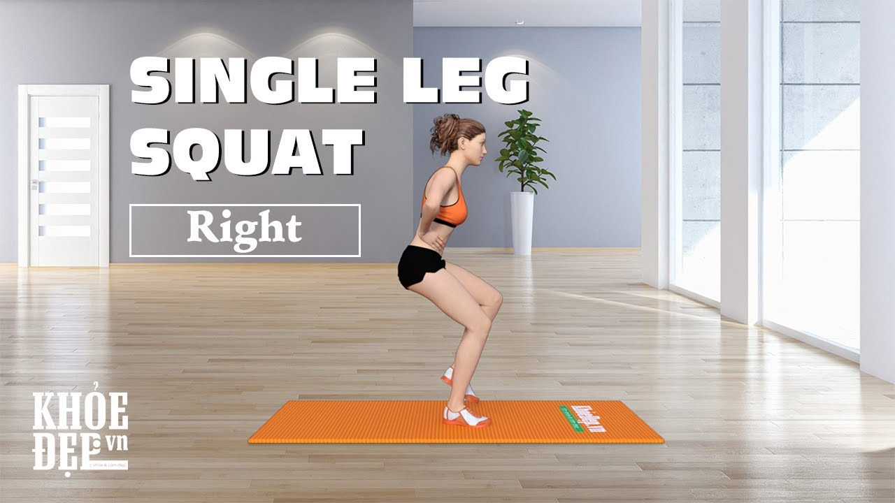 Cách làm nhỏ bắp chân: Bài tập chân #37 Single Leg Squat Right