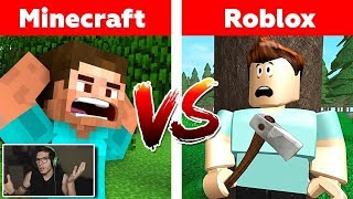 MINECRAFT vs ROBLOX 😱😱 who will win? Minecraft and Roblox animation