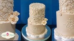 طريقة عمل كيكة الدانتيل لخطبة أو عرس  Fondant Suger Lace Wedding Cake Tutorial