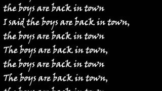 Thin Lizzy The Boys Are Back In Town Lyrics
