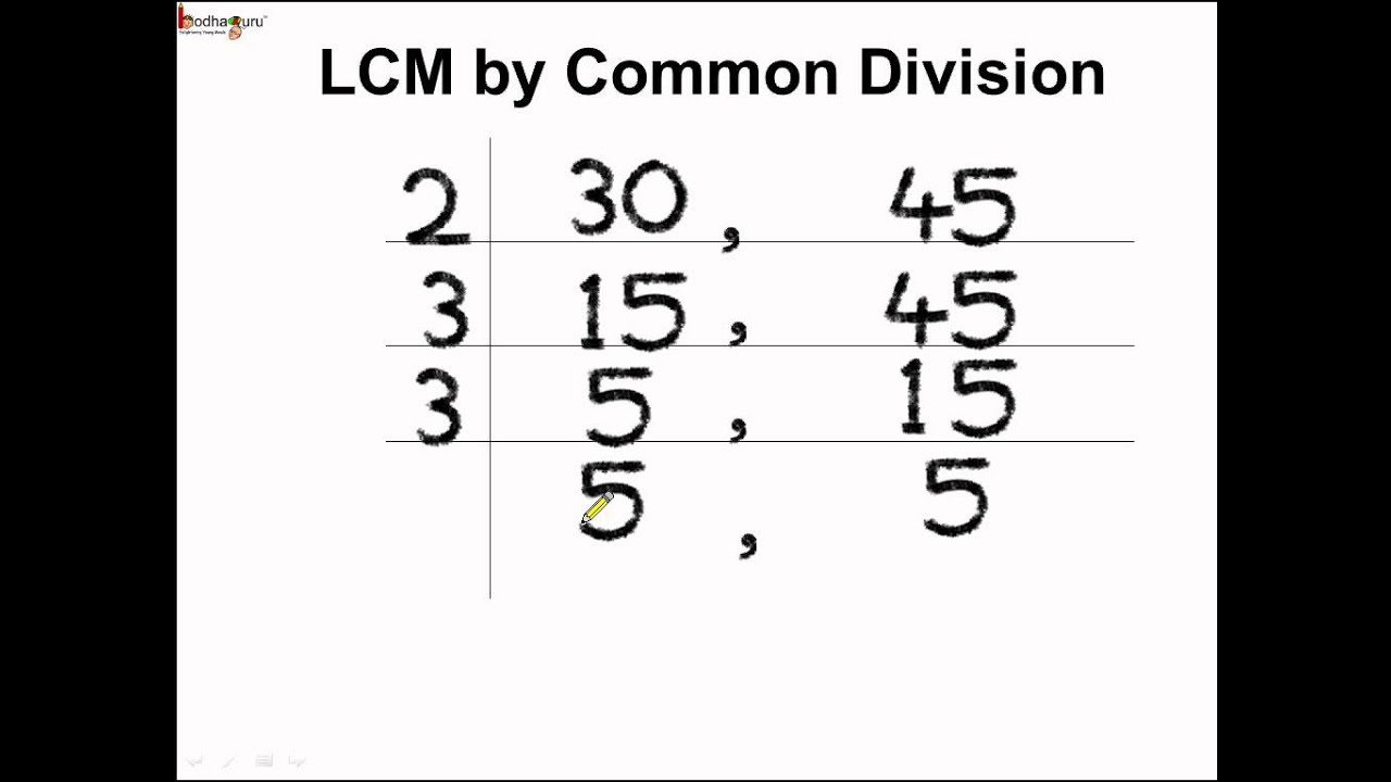 Math How To Find Lcm By Common Division Method English