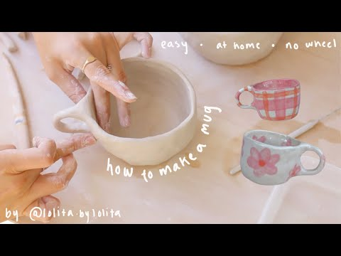 how to make a ceramic mug ~ no wheel required  🌸 pottery from home