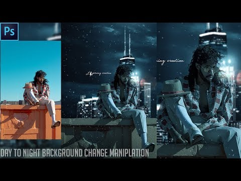 Awesome Day to Night background change manipulation photo editing in Photoshop Tutorial thumbnail