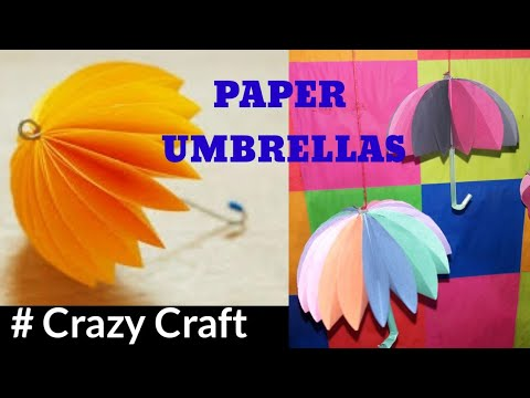HOW TO MAKE COLORFUL PAPER UMBRELLAS || Crazy Craft