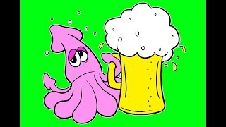 Drawing SQUID PARTY WITH BEER T-Shirt design for Amazon