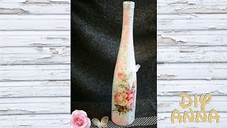 decoupage shabby chic bottle DIY ideas decorations craft tutorial