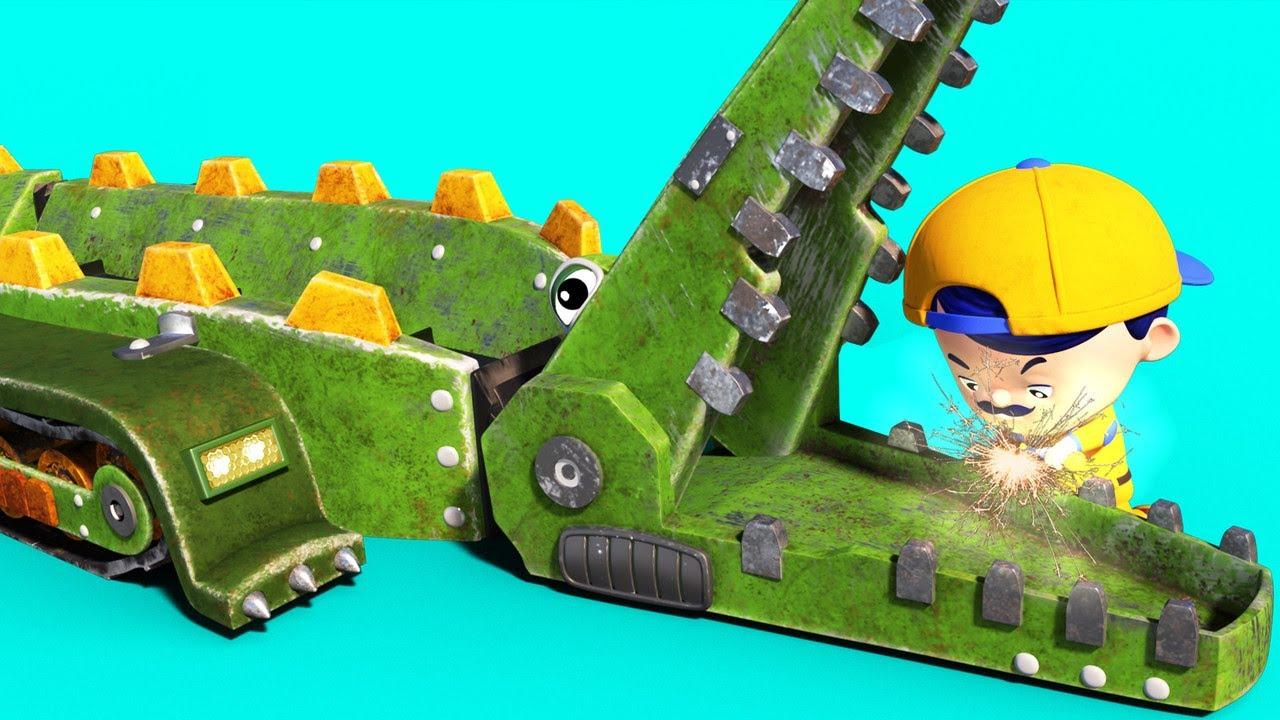 AnimaCars - JONNY repara los dientes de COCODRILO - caricaturas para niños con camiones & animales