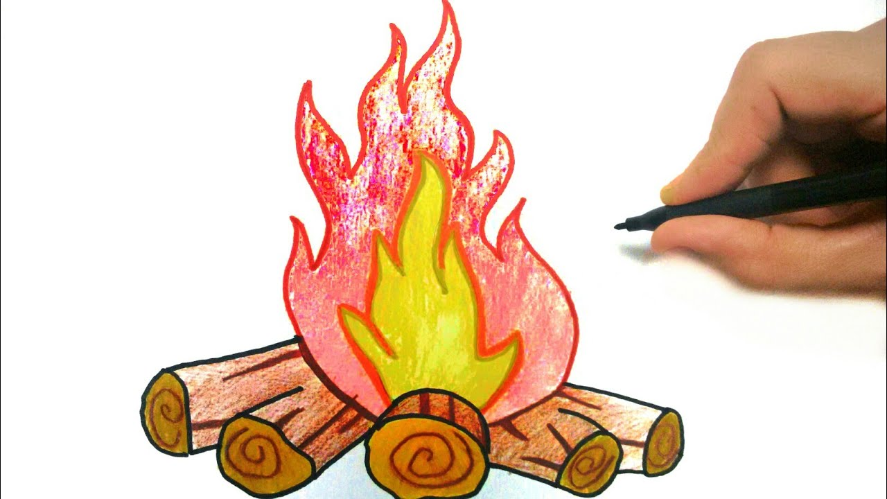 How To Draw Fire Como Desenhar Fogueira De Sao Joao Youtube